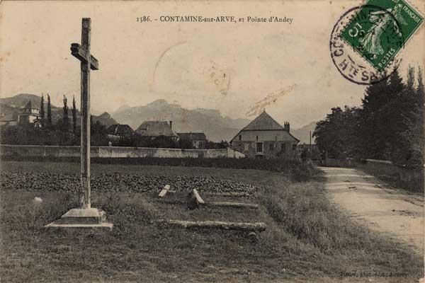Carte postale<br /> (une des plus anciennes)<br /> de l'entrée de CONTAMINE SUR ARVE